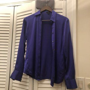 Ann Taylor silk blouse blue, long sleeves, 2